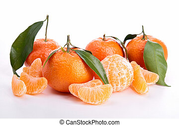 dojrzały, słodki, mandarynka, odizolowany, biały