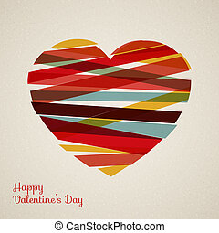 Vector retro heart made from color stripes