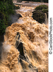 CAIRNS, AUSTRALIA - JAN 22 : Flooded Barron River entering...