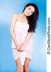 woman wearing pajamas - beautiful young woman wearing...