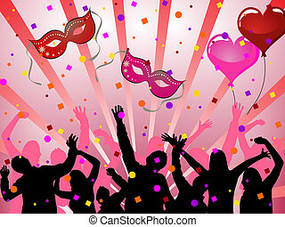 Party poster - Vector illustration of dancing people...