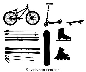 sports Equipment silhouette vector illustration