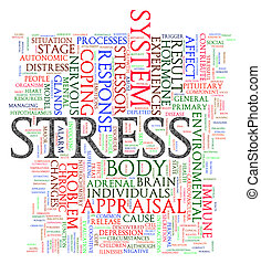 Stress wordcloud - Illustration of word tags of stress...