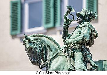 Michel Fountain in Esslingen am Neckar, Germany - Postman...