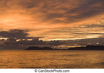 morning over the Trinity Inlet off Cairns, Queensland,...