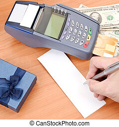 Close up Payment machine on during using Credit card from...