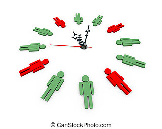 3d human shapes clock - 3d illustration of closeup of human...