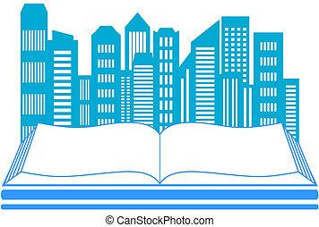 skyscraper and book - icon with skyscraper and book - real...
