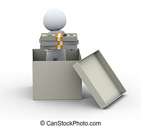 3d person with money - 3d Illustration of man holding dollar...