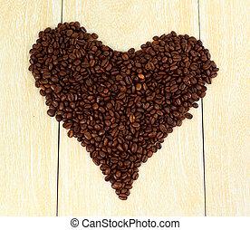 心, コーヒー, 愛, 炎