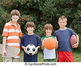 Four Different Sports - Four Boys All With Different Sports...