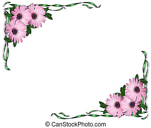 Purple Daisies and Ribbons Corners - Image and illustration...