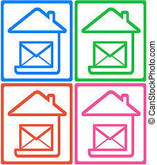 symbol mail delivery - set colorful icon with home and...