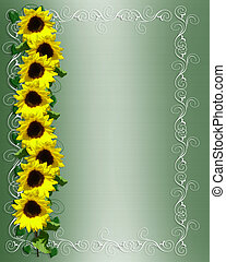 Sunflowers Invitation or Background - Illustration and image...