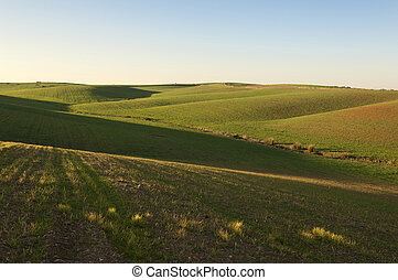Rolling landscape in the fields of Alentejo, Portugal