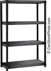 Industrial shelving unit with four shelves Vector...