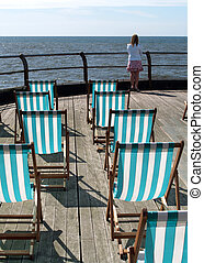 Deckchairs - deckchairs on a pier