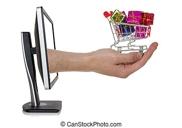 Concept of e-shopping - Computer screen and hand with...