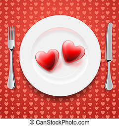 Red hearts on a plate, Valentines Day - Red hearts on a...