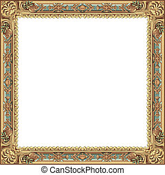 ancient frame with gold and blue models isolated on white...