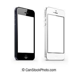 black and white perspective smarphone new iphone isolated on...