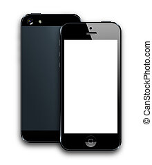 Modern Smartphone - front and back black smarphone latest...