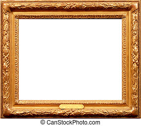 old wood frame isolated on white backfround. vintage frame