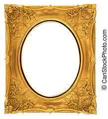 oval frame - oval old gold frame isolated on white...