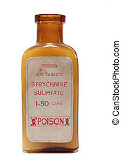 An antique amber bottle of Strychnine poison on white...