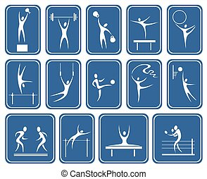 ornate sports symbols - White symbolical images of various...