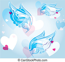 abstract background with wings and hearts - a jointless...
