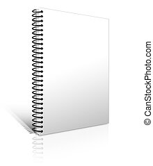 white notebook blank isolated on white background