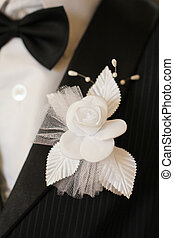 Black bow tie close up, wedding background