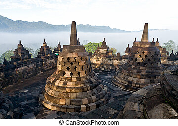 Borobudur Temple. Yogyakarta, Java, Indonesia. - Old...
