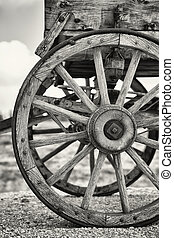 Old wagon wheels - Closeup of the wheels of an old Wagon,...