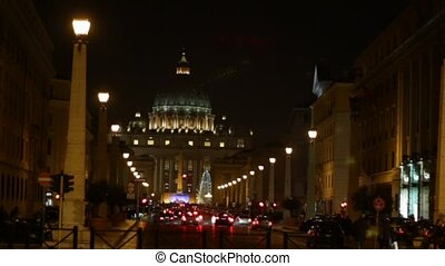 Saint Peter at night - Basilica di San Pietro, Vatican City,...