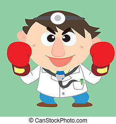 doctor raise his boxing gloves - a cute doctor raise his...