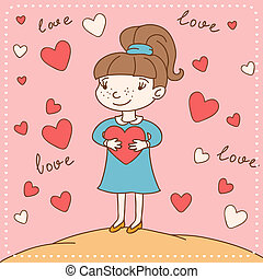 Vintage Valentine's day card of girl with heart.