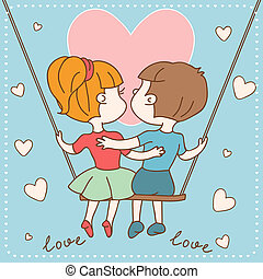 Vintage Valentine's day card of of boy and girl in love.