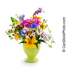 Bouquet of flowers in the green vase isolated on white