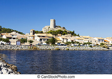 View of the village Gruissan - View of the medieval village...
