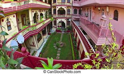 Jaipur hotel. - Atrium of a hotel in Jaipur, Rajasthan,...