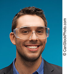 businessman in protective glasses - picture of handsome...