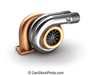 Auto turbine 3D concept Steel turbocharger isolated on white...