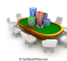 Gambling poker table with chairs and chips on it
