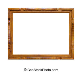 The old wooden frame isolated on white background