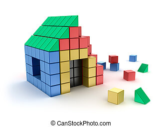 Construction of house from children's blocks. Isolated on...
