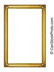dorado, marco, aislado, blanco, Plano de fondo