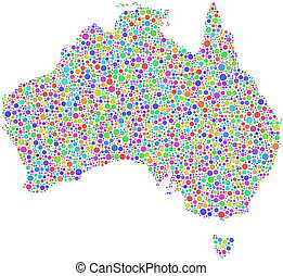 Map of Australia - Decorative map of Australia in a mosaic...
