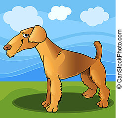 Airedale terrier dog cartoon illustration - Cartoon...